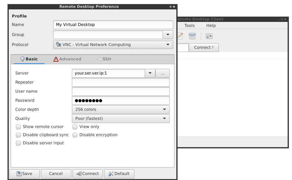 Remmina vnc server connections