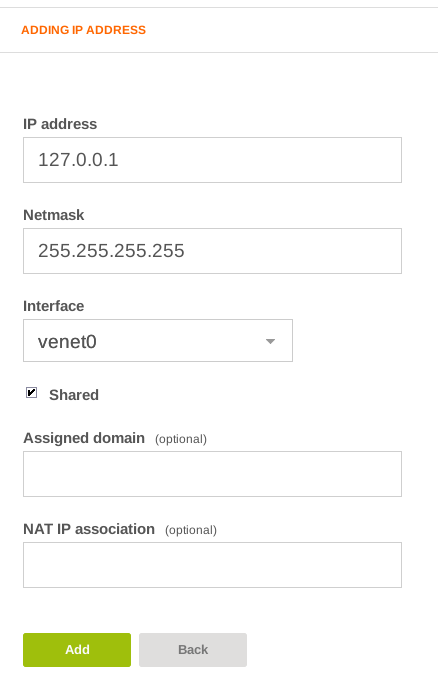 VestaCP add 127.0.0.1 new ip address