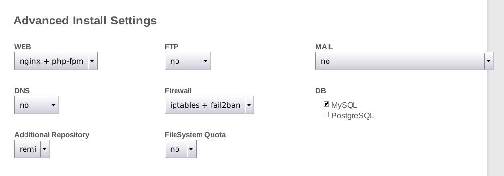 VestaCP advanced install settings
