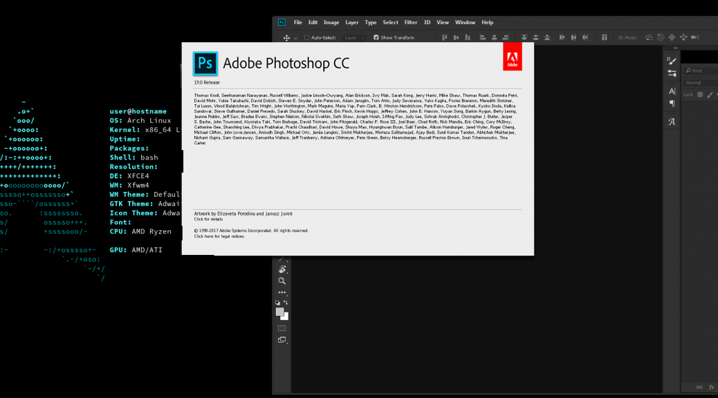 Photoshop CC 2018 on Arch Linux 64bit Crossover Wine PlayOnLinux Tutorial