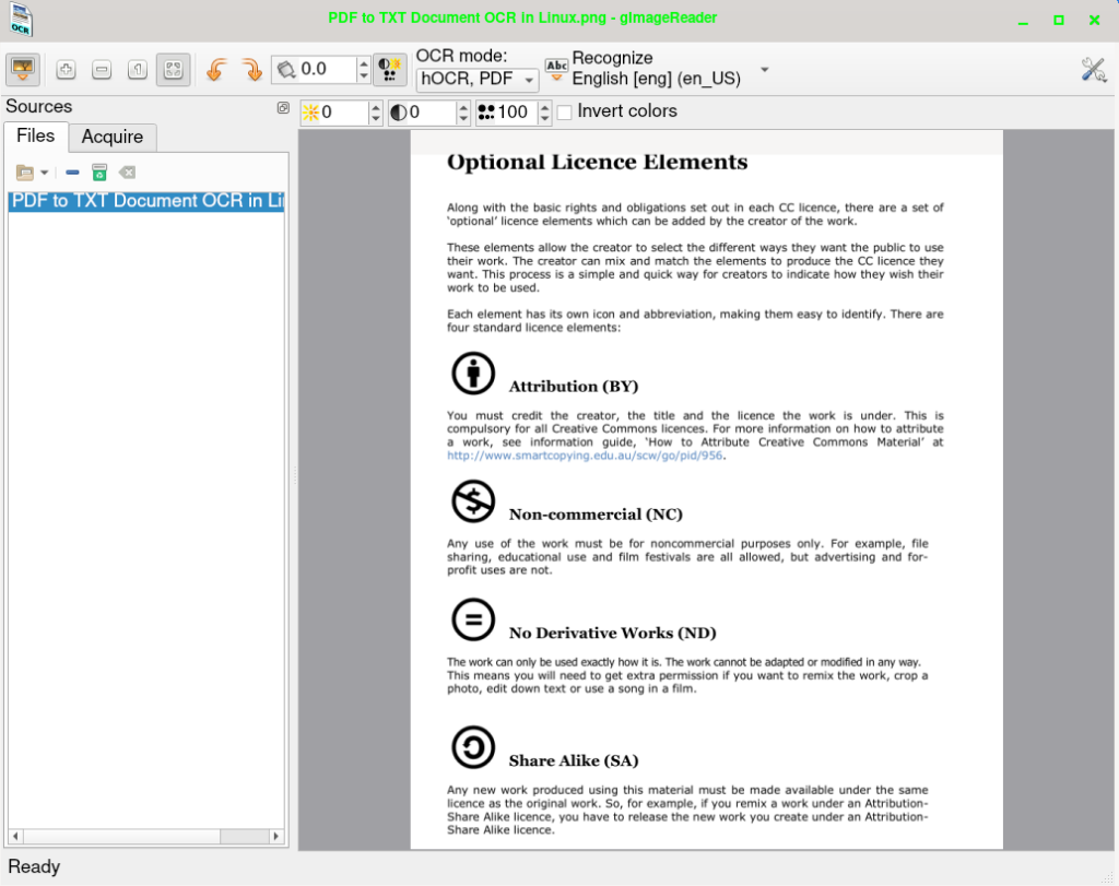 gimagereader convert pdf img png jpg to text or pdf in Linux using OCR